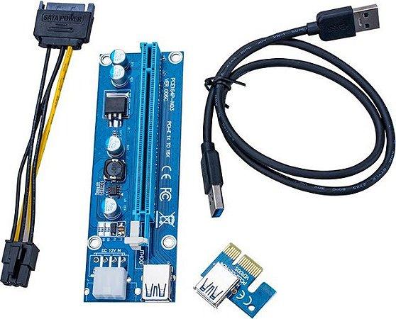 Adaptador Riser Card Pci Express 6 pinos 60cm Mineração