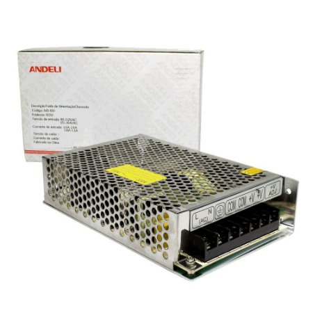 Fonte Chaveada 12V 12.5A 150w Bi-volt MS-150-12 Andeli