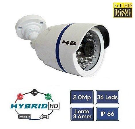 Câmera Bullet Full HD 1080P 2MP 1/3 3.6mm Híbrida 4 em 1 - HB Tech HB-403