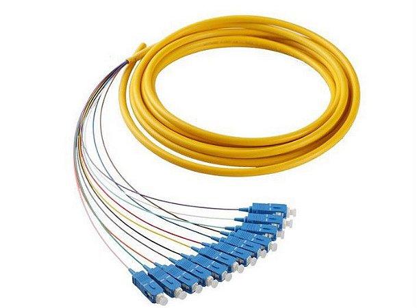Pigtail De Fibra Óptica 12 Cores Em Feixe Sc/Upc - Azul