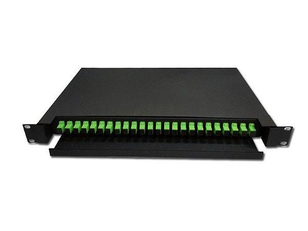Distribuidor Óptico Dio 24 Fibras Para Rack 19U - Sc/Apc