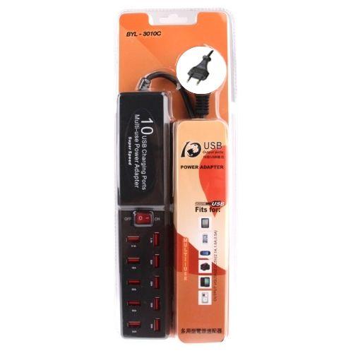 Carregador Usb 10 Portas Extensão Elétrica BYL-3010C