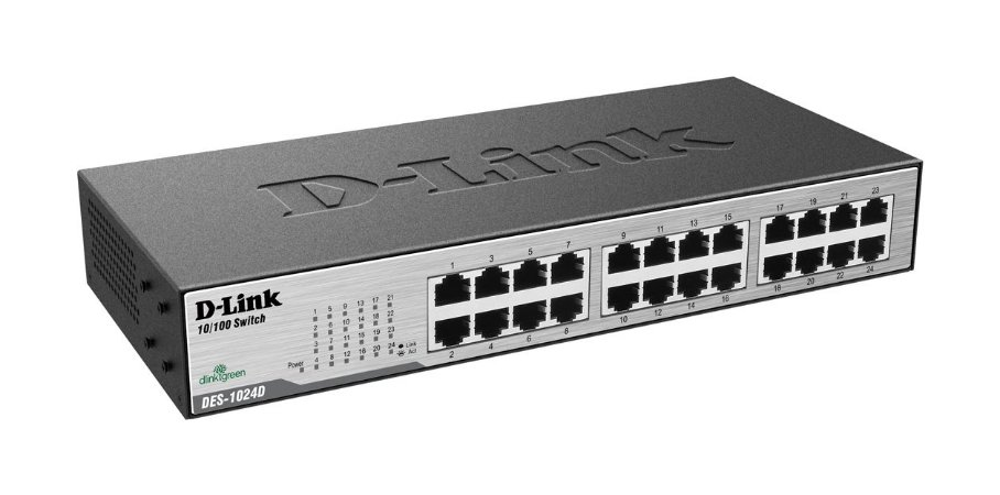 SWITCH 24 PORTAS D-LINK DES-1024D FAST 10/100MBPS RACK/QOS