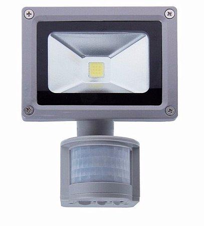 Refletor Led 10w Branco Frio Com Sensor de Movimento e Fotocélula