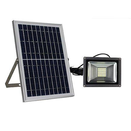 Refletor Led 10w Branco Frio, Com Painel Solar - Completo