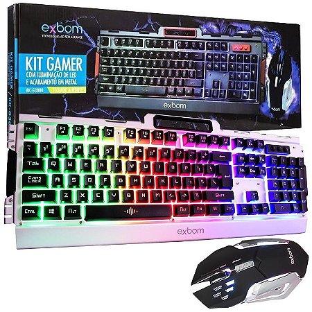 Kit Gamer Teclado e Mouse Com LED e Acabamento Em Metal Bk-G3000 (PRATA)