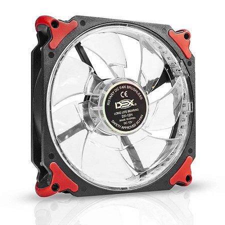 COOLER FAN 120MM C/ 32 LED EXTRA FORTE DEX DX-12H - VERMELHO