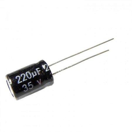 Capacitor Eletrolítico 220uf 35V 105 Graus - 220x35-105