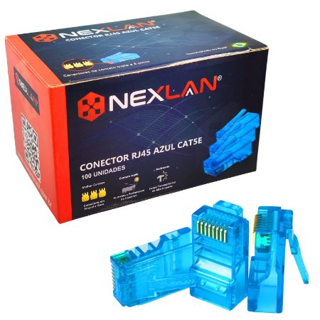 Conector RJ45 Azul Cat5e Premium Nexlan Network - 100 Unidades