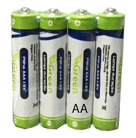 Pilha AA Longa Duração 1.5v Green - 4 Unidades