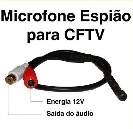 Microfone Espião Amplificado Para Cftv Alcance 40 M²