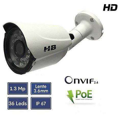 CÂMERA IP HD 1.3MP 960P BULLET 1/3 3.6MM 35M POE ONVIF 2.4 | HB TECH HB902
