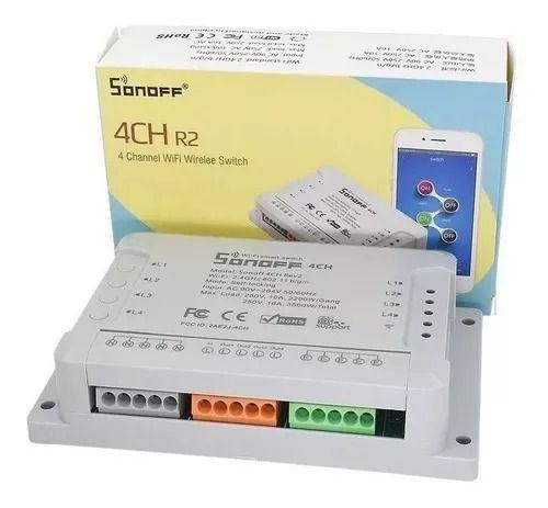 Interruptor Wifi Sonoff 4CH, 4 Canais 10A - Automação