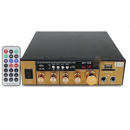 Amplificador De Áudio Receiver Bluetooth, Usb e Fm 200w - 220V