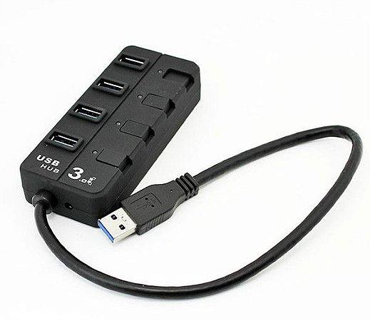 Hub Usb 3.0 Com 4 Portas 5 Gbps C/ Leds E Chaves Individuais