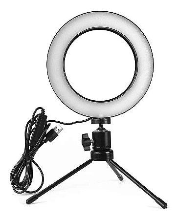 Iluminador Led Ring Light 16cm Usb Com Tripé de Mesa - 3500k 5500k - Exbom