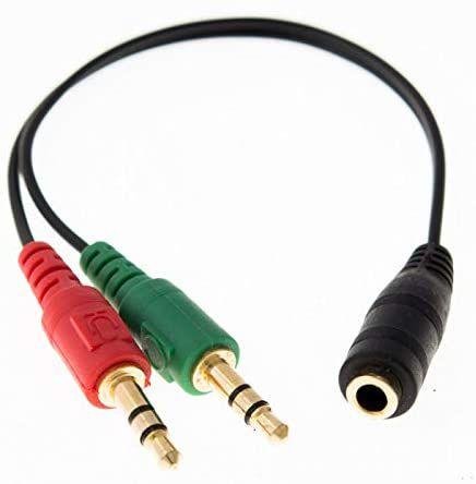 Cabo Adaptador Para Headset, 2x P2 (Macho) Para 1x P2 / P3 (Fêmea)