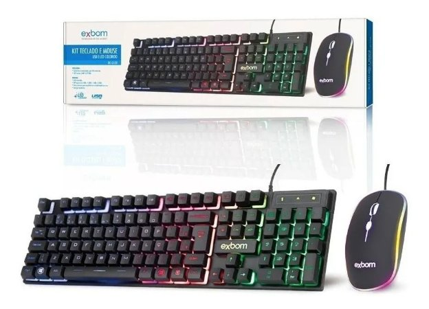Kit Teclado e Mouse Com fio Gamer Com LED Exbom Bk-G550