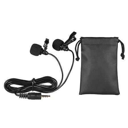 Microfone De Lapela Duplo Omnidirecional P/ Smartphone e PC