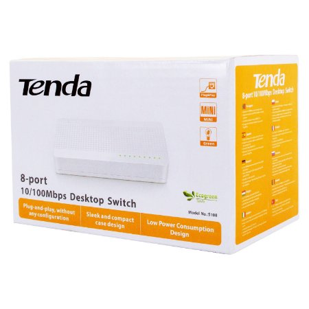 Switch 8 Portas Rj45 Ethernet 10/100mbps  - Tenda S108