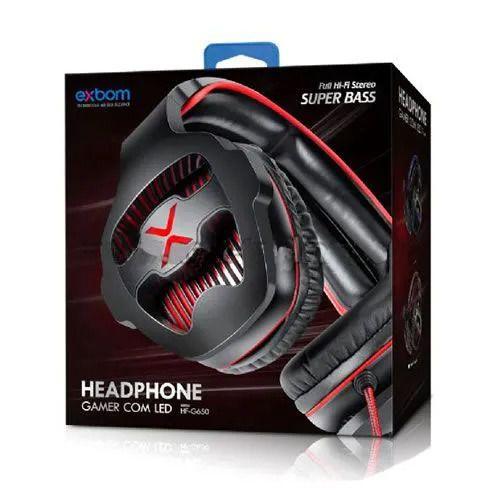 Fone Headphone Gamer C/ Microfone e Led 2xp2 - Exbom HF-G650
