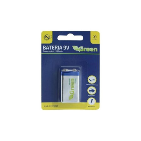 Bateria 9v Recarregável 250mah - Green