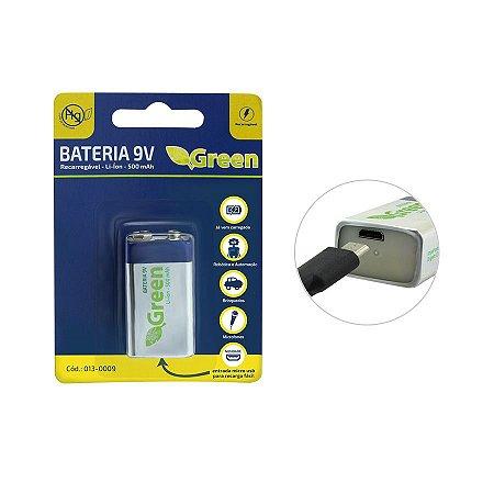 Bateria 9v Recarregável 500 mAh Com Entrada Micro Usb - Green