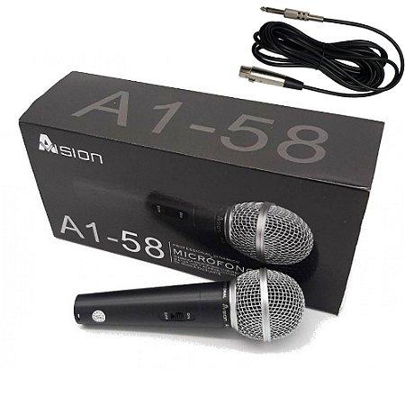 Microfone Com fio A1-58 Dinâmico Cardióide - Profissional