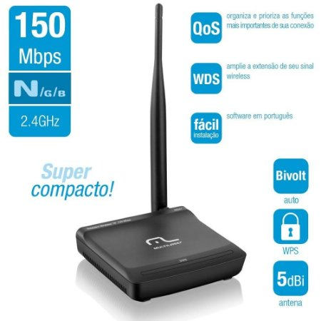 Roteador Wireless Wifi Multilaser 5 Dbi 150 Mbps - Re047