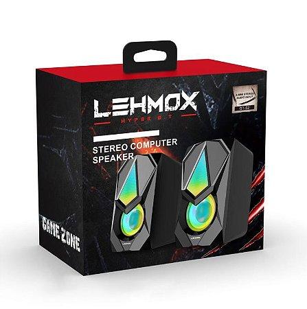 Caixa De Som Gamer Led Rgb Stéreo 6w Usb/P2 - Lehmox GT-S2