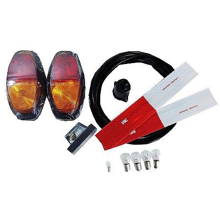 Kit Instalação Elétrica Lâmpada Carretinha Lanternas Fios 3m