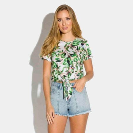 T-shirt Feminina Cropped Estampada