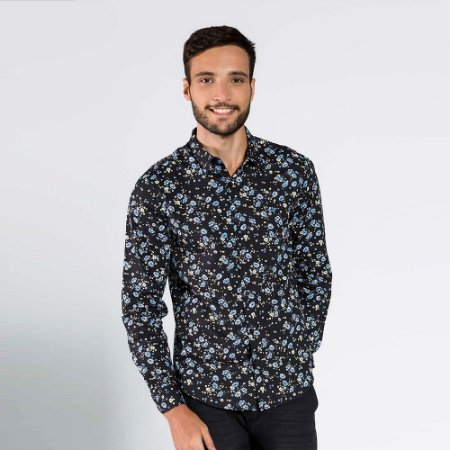 Camisa Masculina Floral Manga Longa