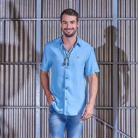 Camisa Masculina Jeans Manga Curta