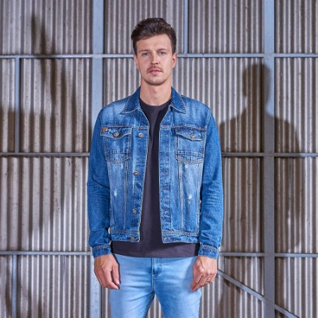Jaqueta Masculina Jeans Destroyed