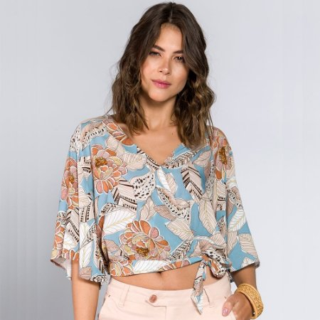 Blusa Cropped Floral Azul