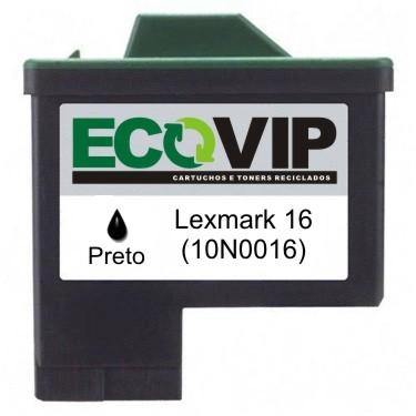 CARTUCHO DE TINTA COMPATÍVEL COM LEXMARK 16 16 PRETO |  Z647 X1270 X1185 Z513 X1195 | 15ML - Ecovip