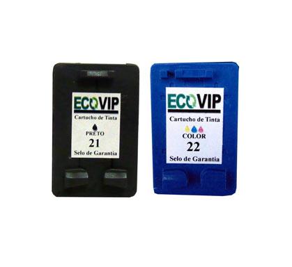 Combo Cartucho Hp 21 + Hp 22 Compatíveis Ecovip