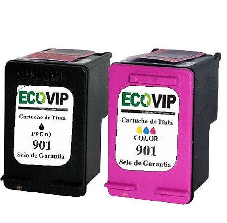 Combo Cartucho Hp 901xl Preto + Hp 901xl Color Compatíveis Ecovip
