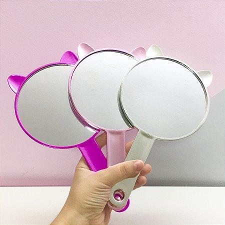 Espelho de Mão Metalizado Gatinho