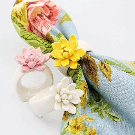 Porta Guardanapo Cerâmica Flor - 4pç