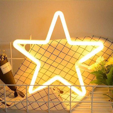 Luminária Estrela Neon Led de Parede USB e Pilha