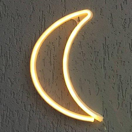 Luminária Lua Neon Led de Parede  Pilha