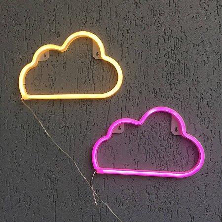 Luminária Nuvem Neon Led de Parede USB e Pilha