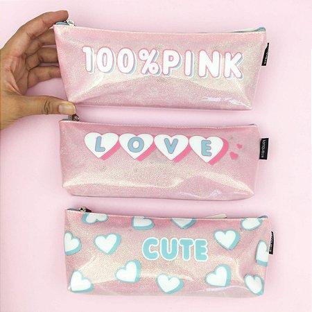 Estojo Love Pink com Led Interno
