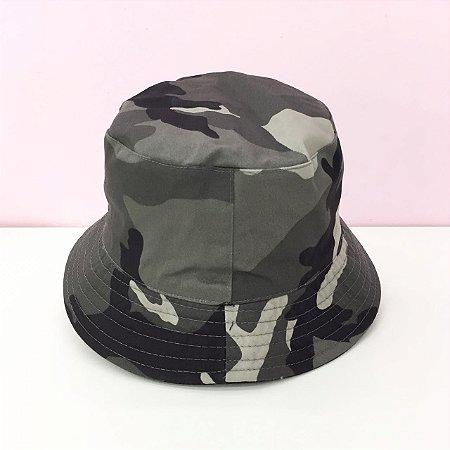 Chapéu Bucket Tecido Camuflado Dupla Face