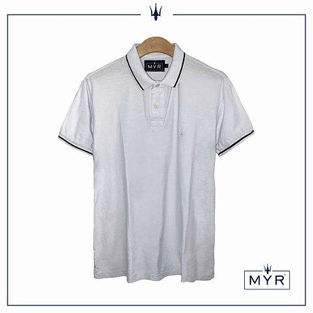 Camiseta Polo - Branca com Marinho