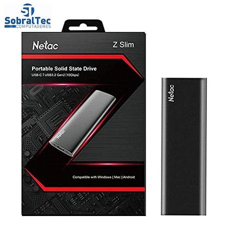HD SSD Externo USB 3.2 Tipo C 500Gb 510Mb/s De Leitura E 440Mb/s De Escrita Netac