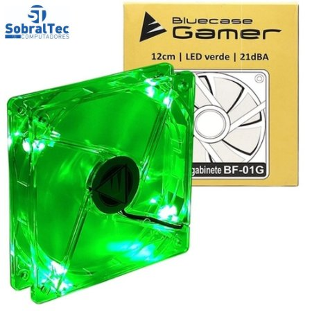 Cooler Fan Bluecase 120mm LED Verde Transparente - BF-01G