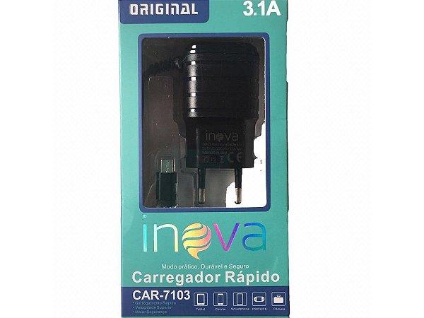 Carregador Rápido Usb Inova Original 3.1A Preto Car-10064 Com 2 Portas Usb